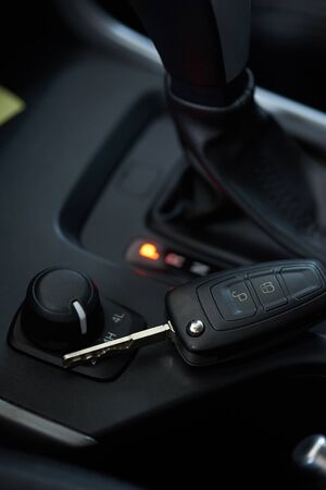 Car keys with automatic transmission of 4x4  close-up view