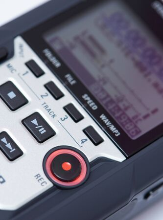 Audio digital recorder close up view. Rec and play pause buttons Stock Photo