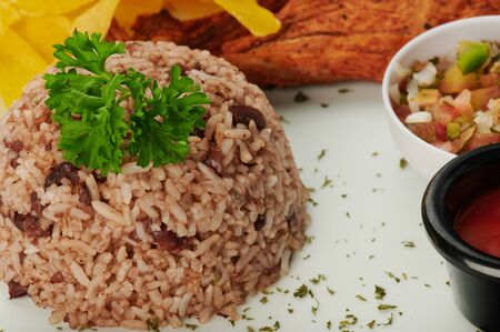 Plate of gallo pinto traditional latin food close up view