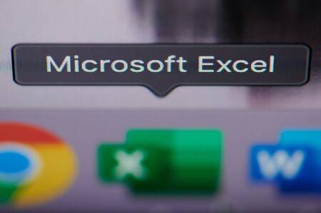 New york, USA - july 26, 2019: Selecting microsoft excel application on computer macro close up view in pixel screen