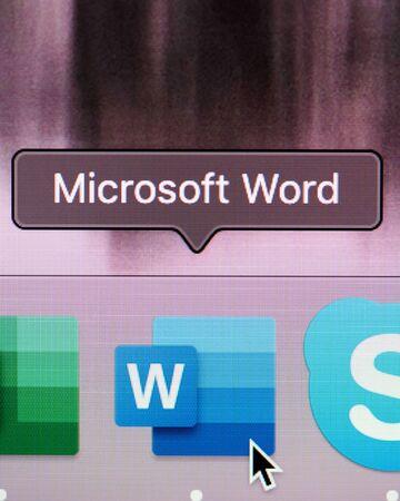 New york, USA - july 26, 2019: Run  microsoft office word program on computer macro close up view in pixel screen Editöryel