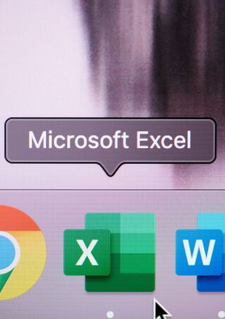New york, USA - july 26, 2019: Run microsoft excel program on computer macro close up view in pixel screen