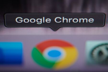 New york, USA - july 26, 2019: Selecting google chrome application on computer macro close up view in pixel screen