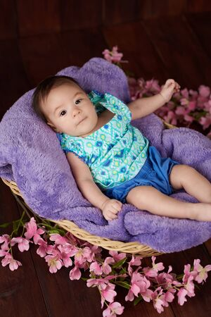 Baby lying in basket with flowers on dark wooden background Stockfoto - 128534457