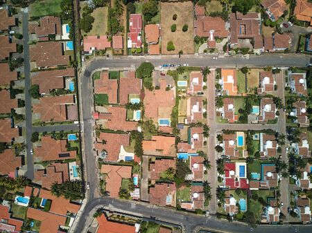 Roofs of american houses in modern residential above top view Stock fotó