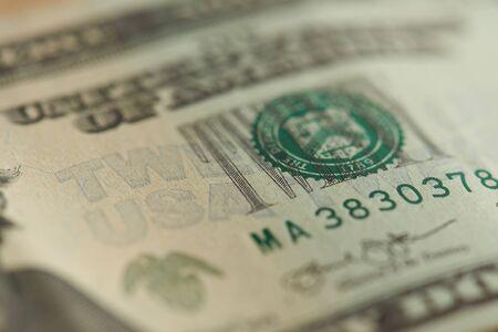 Vista cercana de macro de fondo de dólar de EE.UU.