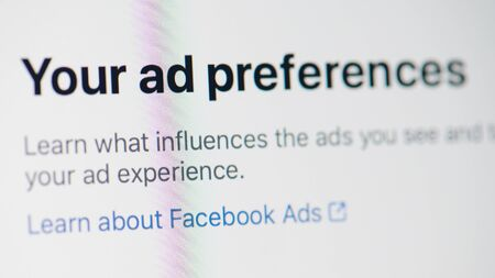 New york, USA - september 18, 2019: Facebook ad preference  on laptop screen close up view Redactioneel