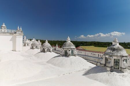 Tourism in Nicaragua theme. White roof in church in Leon town