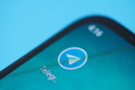 New york, USA - september 28, 2019:Telegram application icon on smartphone screen close up view
