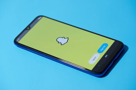 New york, USA - september 28, 2019:Snapchat mobile menu application interface on smartphone side view