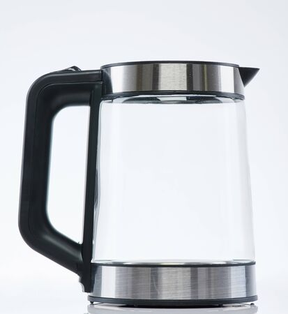 Stainless steel transparent kettle side view isolated on white background