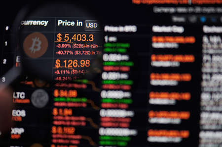 New-York , USA - March 13, 2020: Bitcoin price drop graph on computer screen watching throw magnifier Redakční