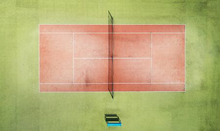 One red tennis with net court above top drone view