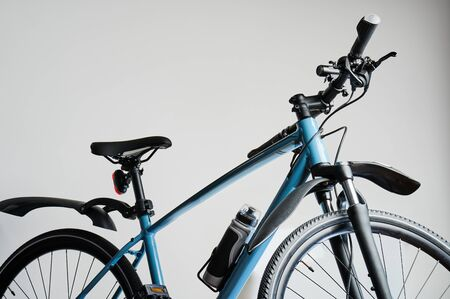 New blue bicycle isolated top part view. Helthy lifestyle theme
