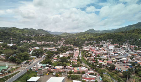 Cityscape of Matagalpa city on mountain  background aerial drone view 免版税图像