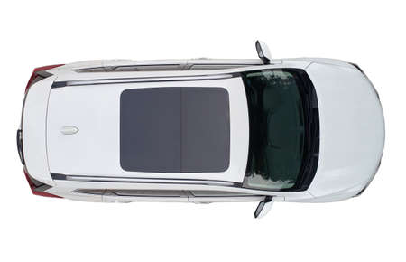Modern white suv car with sun roof isolated above top drone view