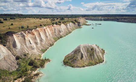 Cement pit with green water aerial above top view Archivio Fotografico