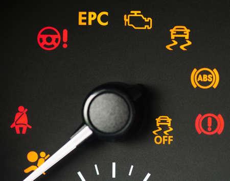 Car failure error signs on dashboard macro close up view
