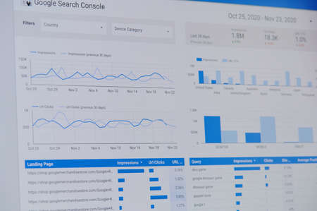 New york, USA - November 24, 2020: Google search console dashboard on laptop screen