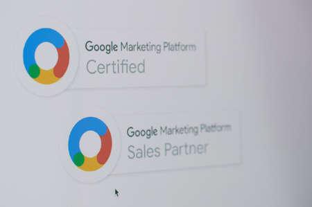 New york, USA - November 24, 2020: Becoming google marketing partner on laptop screen close up view