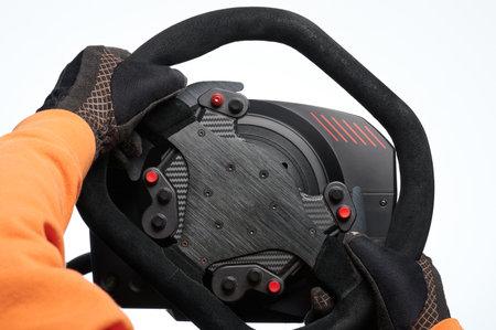 Turning sport car steering wheel isolated on white studio background Stock Photo