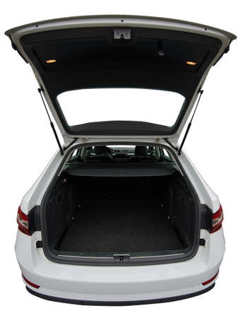 Space for luggage in modern car isolated. Clean car trunk