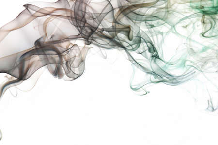 Transparent brown abstract smoke lines on white background. Graphic design banner