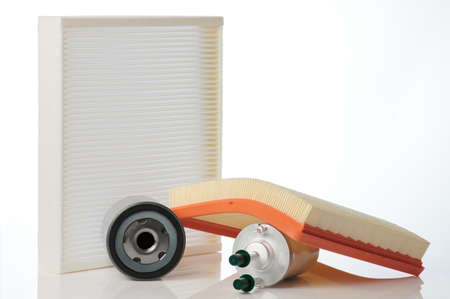 Oil , air and gas car filters isolated on studio background