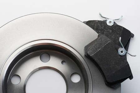 New spare brake disk and pad macro close up view
