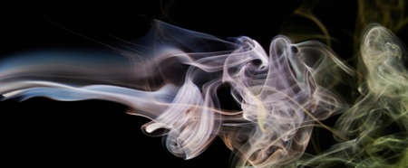 Smoke transparent pink banner lines on black background. Abstract curves