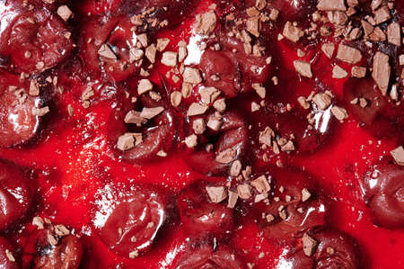 Red cherry pie with chocolate macro close up view background