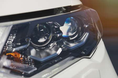 Led lamps in car headlight close up view Standard-Bild