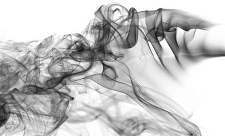 Effect of black transparent smoke background on white backdrop. Cloud of abstract smoke curve