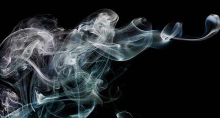 Blue smoke silk line flow on black isolated background Standard-Bild