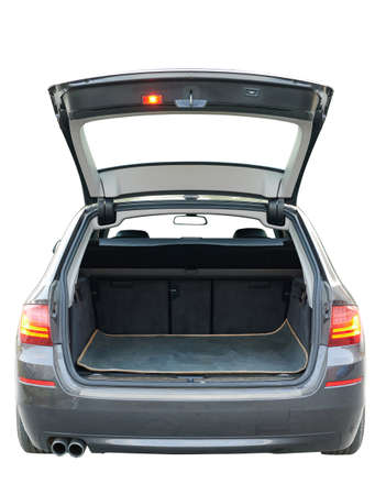 Opened empty trunk of modern car isolated rear view