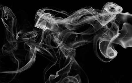 Smoke white wave on black smooth background. Transparent fog effect Standard-Bild