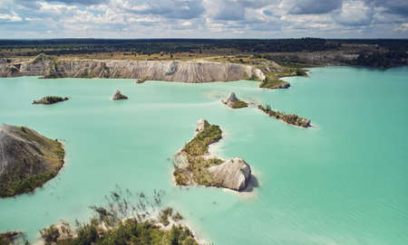 Industrial quarry landscape aerial above top view on bight sunny day