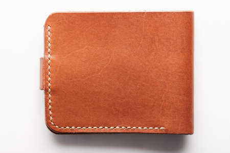Slim brown color leather wallet back color isolated