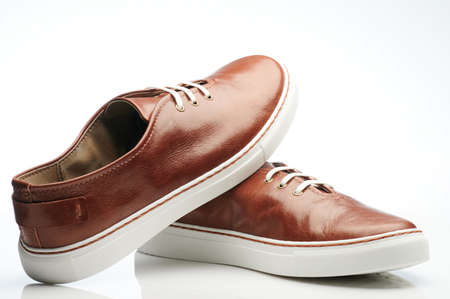 Leather brown pair of shoes with laces with comfortable sole Standard-Bild