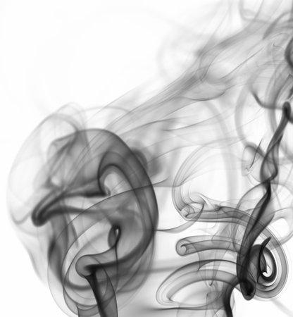Mystery black smoke curve background isolated on white