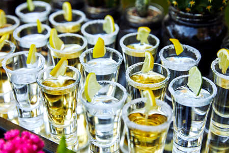 many tequila glasses with lemon and cactus