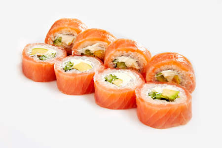 Japan sushi rolls isolated on white background Stok Fotoğraf