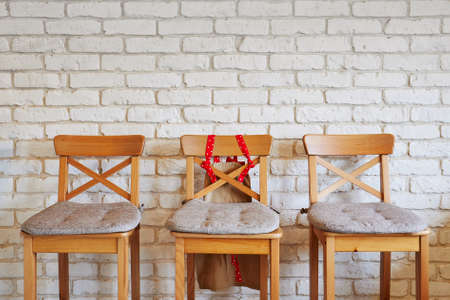 Row of chairs with one red. Job opportunity. Business leadership. recruitment concept Stock Photo