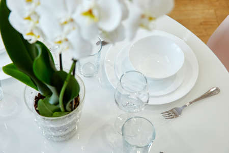 Beautiful table setting, great design for any purposes. Traditional festive decoration. Spring season. Copy space Stock Photo