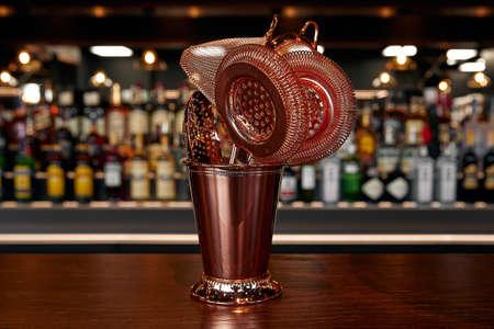 Bartender equipment for making cocktail. Shaker, jigger, strainer, spoon 版權商用圖片