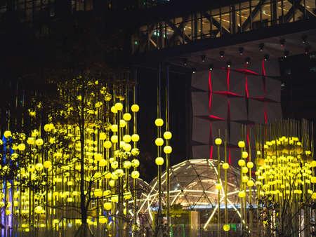 Yellow lanterns on the night street of Seoul