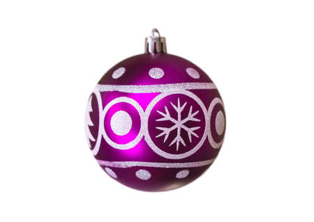 Christmas festive purple balloon with the image of a spruce and snowflakes for decoration on a white background, isolated, soft focus