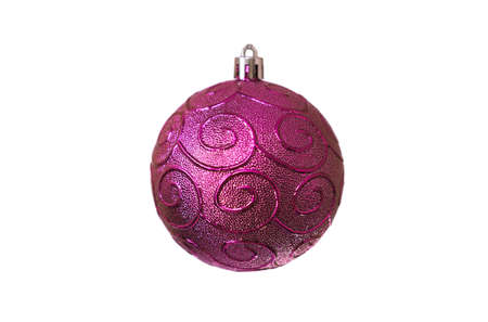 Christmas purple toy with spiral patterns for decoration on a white background, isolated, soft focus Banco de Imagens