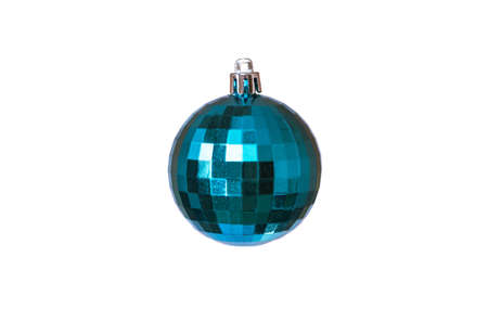 Christmas toy in the form of disco ball for decoration on a white background, isolated, soft focus