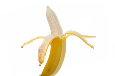banana fruit without a peel on a white background